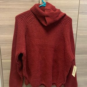 Red Turtle Neck Sweater Garage Clothing
